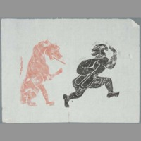 Rubbing: figure and lion